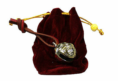 Tahoe Solid Brass Christmas Sleigh Bell with Leather Strap in Velvet Gift Bag