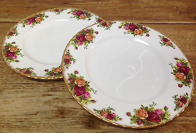 Royal Albert Old Country Roses 2 Dinner Plates Red Yellow Fluted England Bone