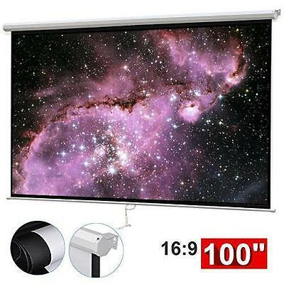"100"" Manual Projection Screen HD Movie Projector White 16:9"