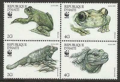 HAITI WWF WORLD WILDLIFE FUND 1999 IGUANA & TREE FROG 4v MNH
