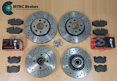 Clio 2.0 172/182 01-05 DrilledGrooved Front Rear Brake Discs +Brembo Pads ABS