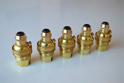 5 Brass Bayonet Fitting Bulb Holder Cord Grip Lamp Holder Earthed Shade Ring G3