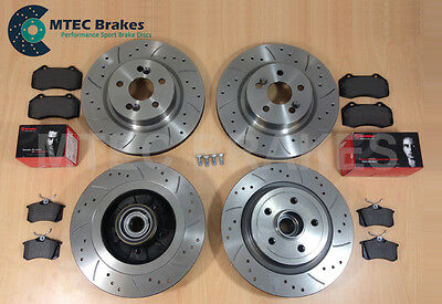 Clio 2.0 197 06-09 Drilled Grooved Front Rear Brake Discs + Brembo Pads + ABS