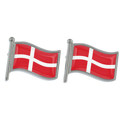 Denmark Wavy Flag Cufflinks Boxed Danish EU Aarhus Copenhagen New & Exclusive