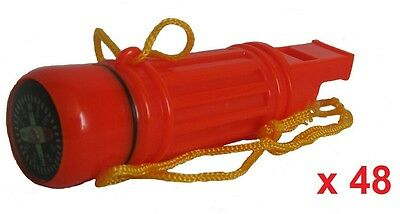 Wholesale Job Lot 48 x 5 in 1 Emergency Survival Distress Whistle, Camping Kit
