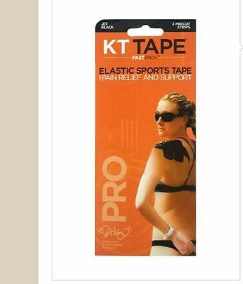 "KT Kinesiology Elastic Sports Tape PRO FastPack Precut 5 x 3 - 10"" Strips BLACK"