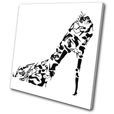 Abstract Retro High Heels Pattern SINGLE CANVAS WALL ART Picture Print VA