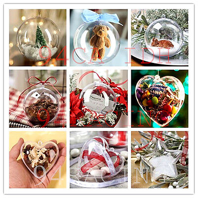 5Pcs Clear Plastic Fillable Heart Ball Bauble Candy Box Xmas Ornament Decor Gift