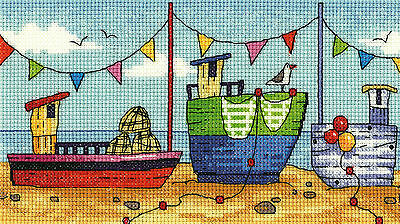 Heritage Crafts Cross Stitch Kit - By The Sea - Boats