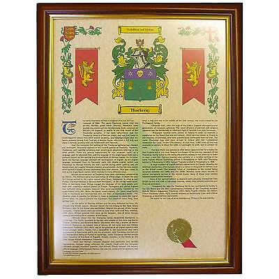 Coat of Arms & Surname History Print (Framed)