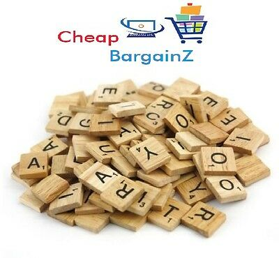 100 Wooden Scrabble Tiles Black letters and Numbers for Arts & Crafts Wood UK