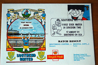 Southend United 1st Ever Match In Division 2 v Bristol City 1991 Football Cover