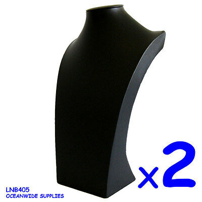 PREMIUM 2X Necklace Holder Bust LARGE-39cm-FULL Black Leather | AUSSIE Seller