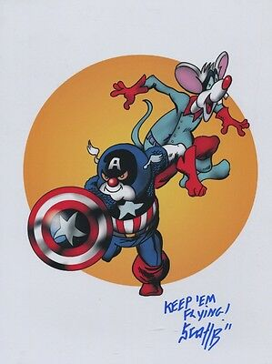 Pinky & The Brain As Captain American & Bucky  Signed Tribute Print 8.5x11