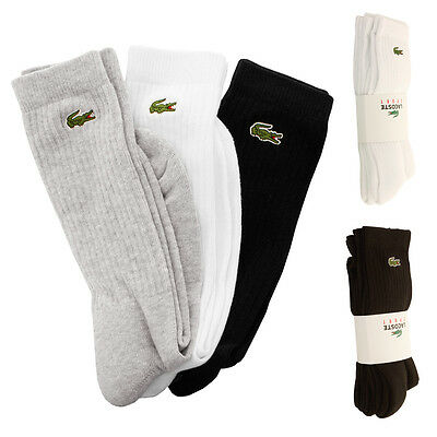 Lacoste 2016 Mens RA7621 High Cut Sports Socks Multi Pack - Pack of 3 Pairs