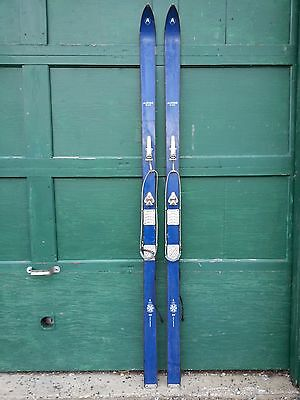 "INTERESTING OLD BLUE Skis 82"" Long with Metal Bindings Signed ALPINE DELUXE"