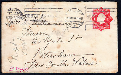 1917 KGV 1d Red Embossed Octagonal Envelope South Australia to NSW