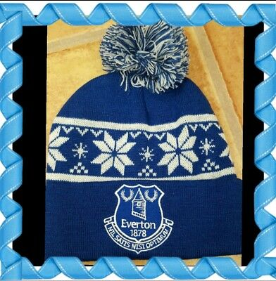 Official Everton Kids Snow Flake bobble Hat Royal and White - Great Gift Idea!