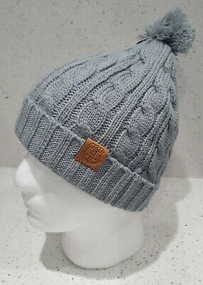 Official Everton Cable Style Bobble Hat - Grey - Featuring Club Crest