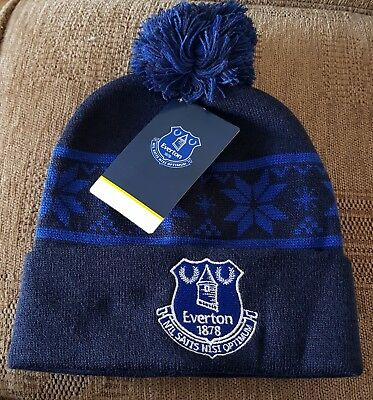 Everton Official Kids Snow Flake bobble Hat Navy and Royal - Great Gift Idea!