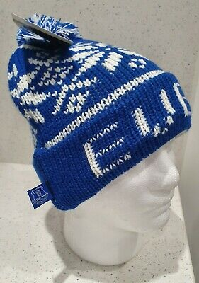 Everton Official Adults Fairisle bobble Hat Royal and White - Great Gift Idea!