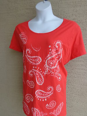 e1ddb7a8730 NWT Just My Size Glitzy Graphic Scoop Neck S S Cotton Tee Shirt Red Orange