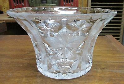 Signed Hawkes Cut Crystal Etched Flowers Bowl