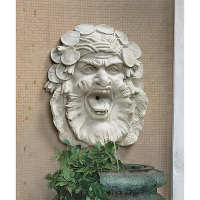 Welsh Wise Face Greenman Water Lily Crown Fountain Mask Spitter Wall Sculpture