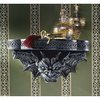 Gothic Fierce Horned Gargoyle Sculptural Celtic Architectural Wall Shelf