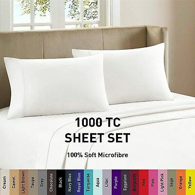 1000TC Soft Microfiber Flat Fitted Sheet Set Single/Double/Queen/Super/King Size