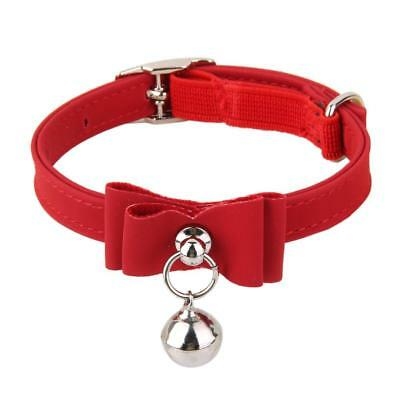 Cat Kitten Puppy Collar Adjustable Safety Buckle Neck Strap With Bell Red