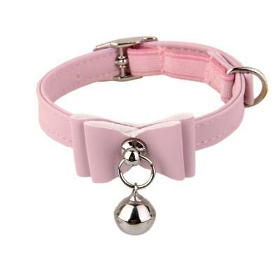 Cat Kitten Puppy Collar Adjustable Safety Buckle Neck Strap With Bell Pink