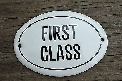 Small Antique Style Enamel Metal First Class Door Sign Train Ship Door Plaque