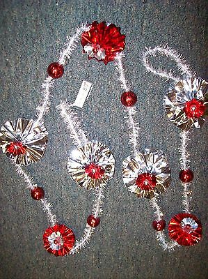 5.5' Mylar Rosette Flowers and Silver Tinsel Garland with Balls