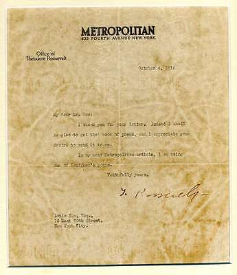 Theodore Roosevelt Signed Jsa Certified Letter Authenticated Autograph
