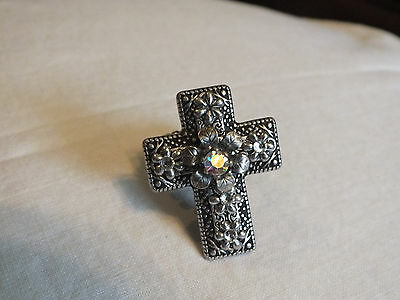 Beautiful Silver Tone Cocktail Ring Stretch Large Cross Clear AB Rhinestones Wow