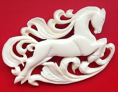 Horse Art Artisian Jewelry Hand Carved Broach Pin Vintage Style #horse horse USA