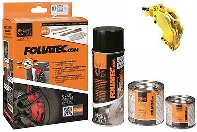 Brake Caliper Lacquer Paint Set Speed Yellow Cleaner Brush Gloves - Foliatec