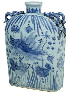 20Th Century Blue And White Chinese Flask Vase