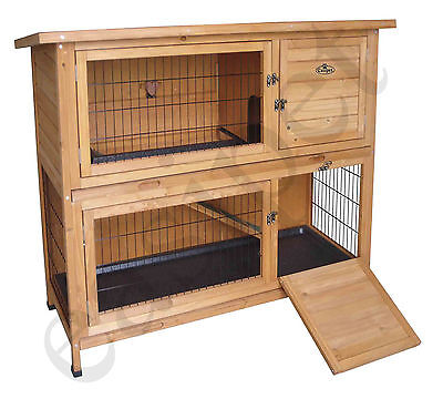 Wooden Bunny Rabbit Hutch Guinea Pig Ferret 4ft Two Tier Wood Pet House Shelter