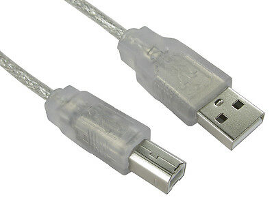 2m USB Printer Lead Type A to B Male High Speed 2.0 Clear See Through Cable