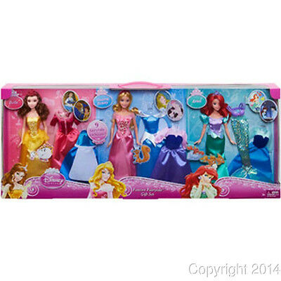 Disney Princess Forever Fairytale Gift Set 3 Dolls 9 Fashions ARIEL BEAUTY BELLE