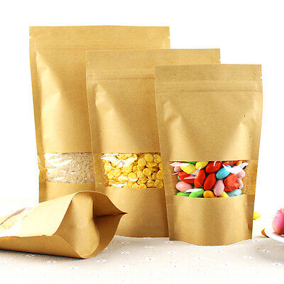 Stand Up Kraft Paper Food Gift Bags Pouch With Clear Window Ziplock Resealable