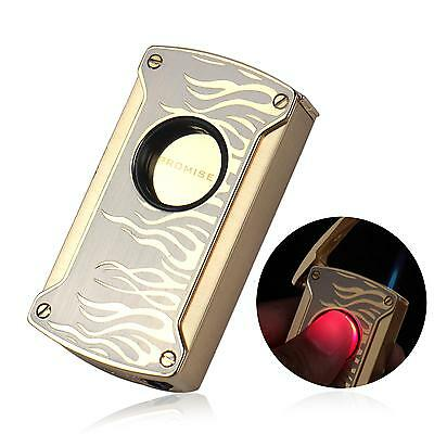Luxury Laser Touch Induction Blue Jet Flame Cigarette Cigar Torch Lighter W/Box