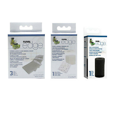 Fluval EDGE Filter Service Kit Carbon Clean & Clear,Foam & BIOMAX and Sponge