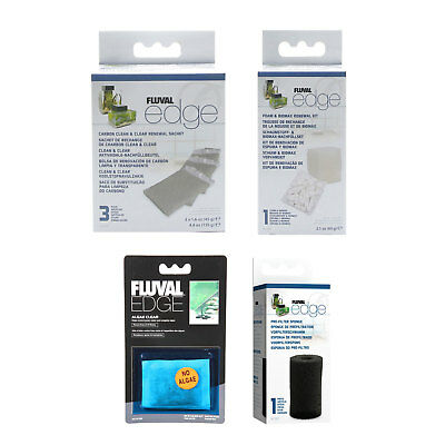 Fluval EDGE Carbon Clean & Clear,Foam & BIOMAX, Sponge and Algae Clear Kit