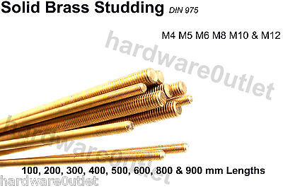 BRASS STUDDING Allthread Threaded Rod M4 M5 M6 M8 M10 M12 - 9 Lengths available