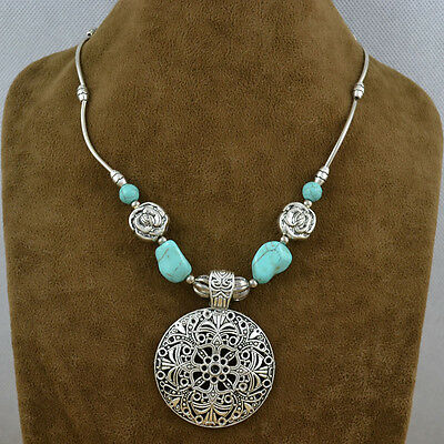 Vintage Look Delicate Silver Pld Hollow Flower Pendant Turquoise Necklace 16''