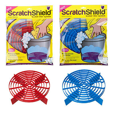 2 x Scratch Shield Grit Guard Adjustable Car Wash Bucket Water Filter RED + BLUE