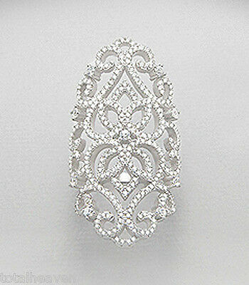 """Solid Sterling Silver Sparkling 1.65"""" Wide Knuckle Ring size 8 Antique Replica"""
